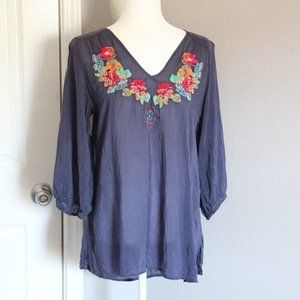 Johnny Was Navy Blue Floral Embroidered Blouse Top